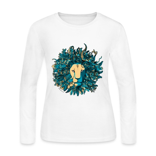 Blue and Yellow Lion - Women's Long Sleeve Jersey T-Shirt