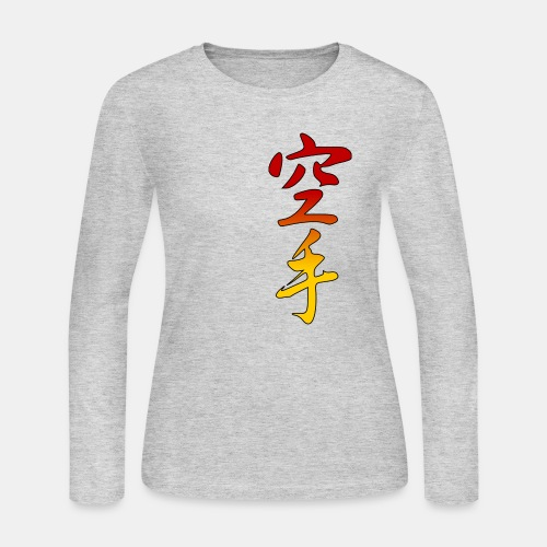 Karate Kanji Red Yellow Gradient - Women's Long Sleeve Jersey T-Shirt