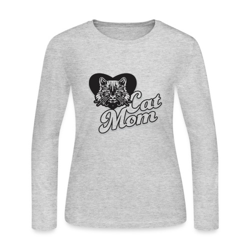 Cat Mom, Cat Mum, Cat Mother, Funny Mother's Day - Women's Long Sleeve Jersey T-Shirt