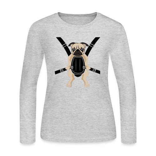 Funny Cute Baby PUG Carrier with Strap On - Women's Long Sleeve Jersey T-Shirt