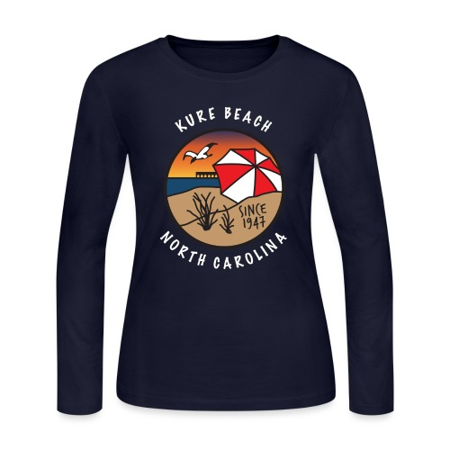 Kure Beach Sunrise-White Lettering-Front Only - Women's Long Sleeve Jersey T-Shirt