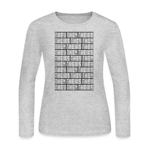 They Them Theirs (Repeating Block) - Women's Long Sleeve Jersey T-Shirt