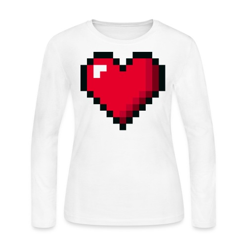 Pixel 8 bit Happy Valentine s Day Heart for Gamers - Women's Long Sleeve Jersey T-Shirt