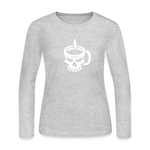 Caffeinated Coffee Skull - Women's Long Sleeve Jersey T-Shirt