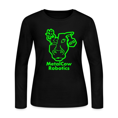 MetalCowLogo GreenOutline - Women's Long Sleeve Jersey T-Shirt