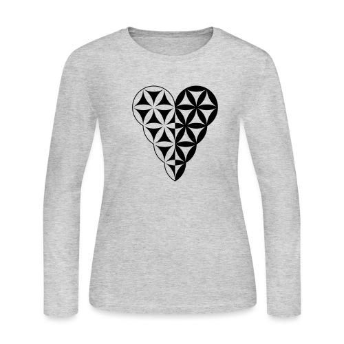 Dual Heart, Male-Female Duality. Vector image. - Women's Long Sleeve Jersey T-Shirt