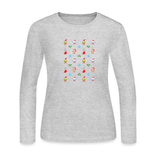 Teddy, mouse elf and snowman Christmas pattern - Women's Long Sleeve Jersey T-Shirt