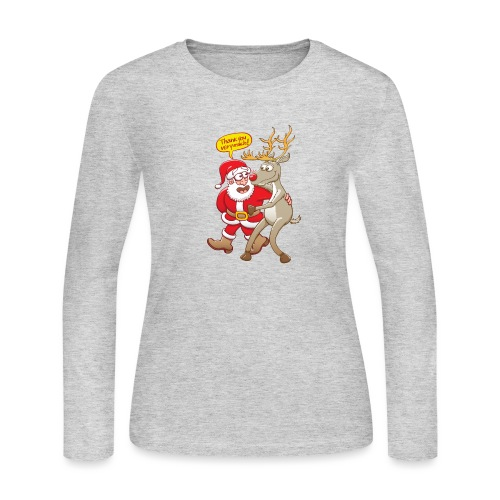 Santa Claus deeply thanks his red-nosed reindeer - Women's Long Sleeve Jersey T-Shirt