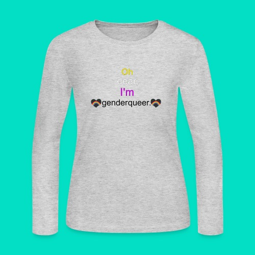 Oh Dear, I'm Genderqueer (with nonbinary colors) - Women's Long Sleeve Jersey T-Shirt