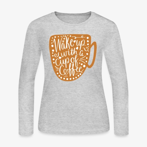Coffee Cup with White Center - Women's Long Sleeve Jersey T-Shirt