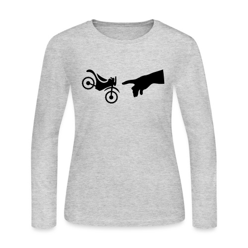 The hand of god brakes a motorcycle as an allegory - Women's Long Sleeve T-Shirt