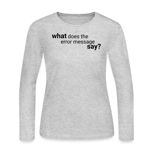 What does the error message say? - Women's Long Sleeve Jersey T-Shirt