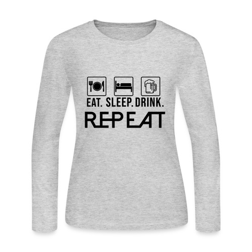 eat sleep drink tshirt - Women's Long Sleeve Jersey T-Shirt