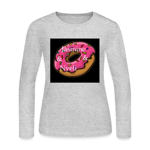 Black Donut W/ Our Channel Name - Women's Long Sleeve Jersey T-Shirt