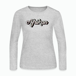 Cursive Afrikan Black with no fill - Women's Long Sleeve Jersey T-Shirt