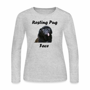 Resting Pug Face Tshirt - Women's Long Sleeve Jersey T-Shirt