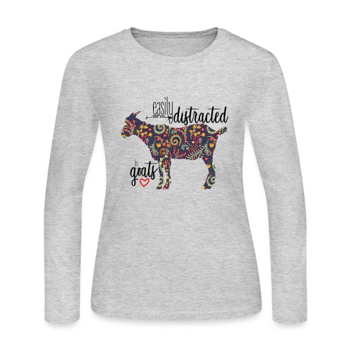 Easily Distracted by Goats - Women's Long Sleeve Jersey T-Shirt