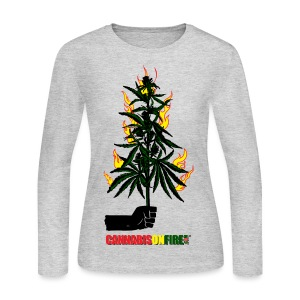 Cannabis On Fire T-shirts - Women's Long Sleeve Jersey T-Shirt