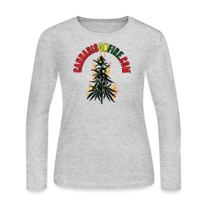 Cannabis On Fire T-Shirt 420 Cannabis Wear 2017 - Women's Long Sleeve Jersey T-Shirt