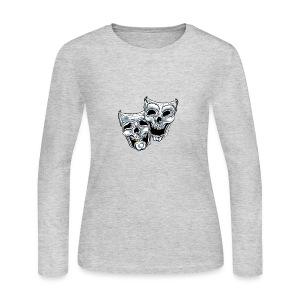 COMEDY TRAGEDY SKULLS - Women's Long Sleeve Jersey T-Shirt