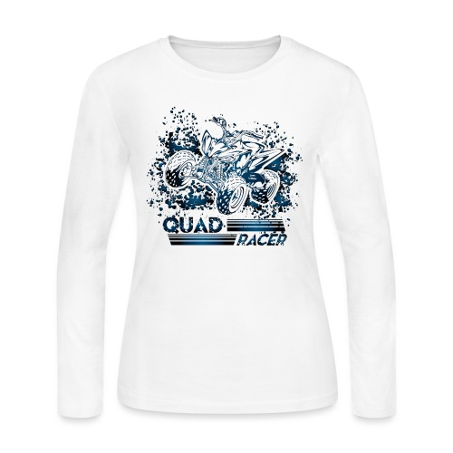 Blue Quad Racer Grunge - Women's Long Sleeve Jersey T-Shirt