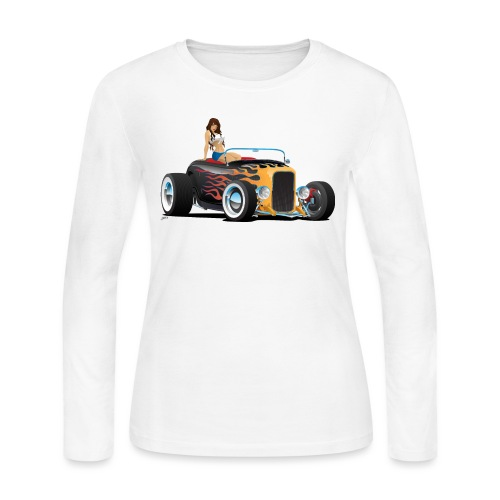Custom Hot Rod Roadster Car with Flames and Sexy W - Women's Long Sleeve Jersey T-Shirt
