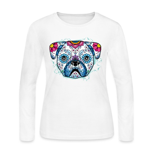 Puppy Sugar Skull - Women's Long Sleeve Jersey T-Shirt