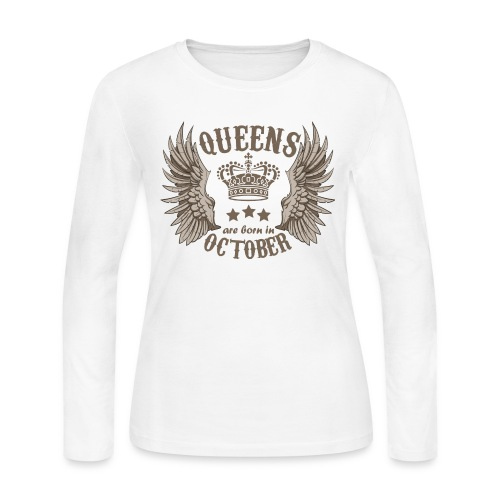 Queens are born in October - Women's Long Sleeve Jersey T-Shirt