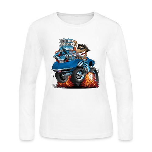 Classic '69 American Sports Car Cartoon - Women's Long Sleeve Jersey T-Shirt