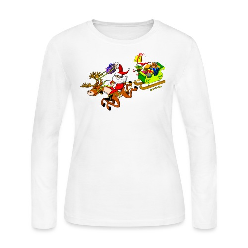 Santa's Gift Delivery with a Slingshot - Women's Long Sleeve Jersey T-Shirt