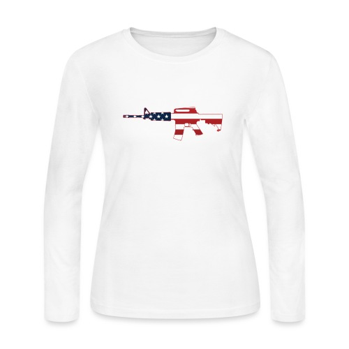 AR-15 Stars & Stripes Rifle Silhouette - Women's Long Sleeve Jersey T-Shirt