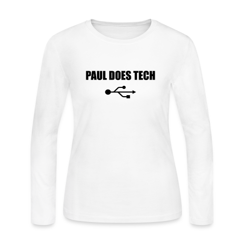 Paul Does Tech Logo Black with USB - Women's Long Sleeve Jersey T-Shirt