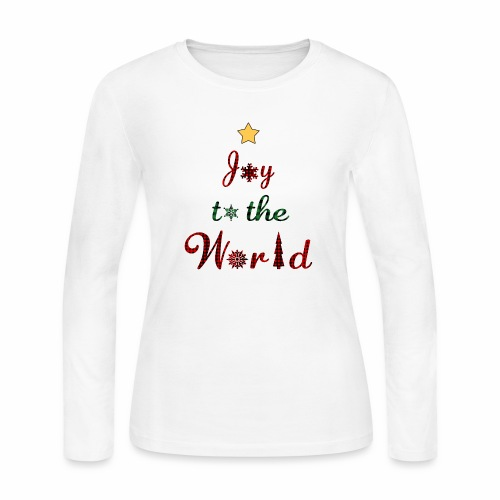 Joy to the world Christmas Tree Star Holiday Plaid - Women's Long Sleeve Jersey T-Shirt