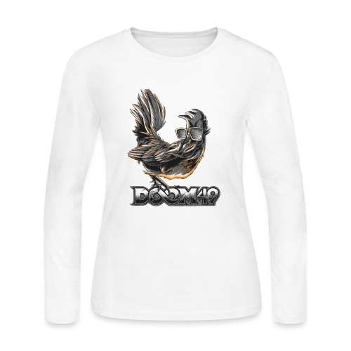 DooM49 Black and White Chicken - Women's Long Sleeve Jersey T-Shirt