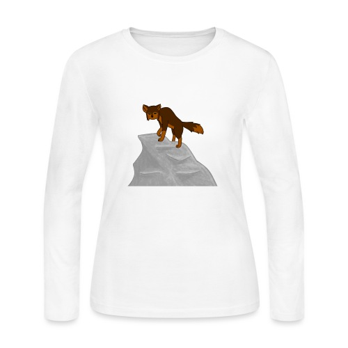 Wolf looking down on Boulder - Women's Long Sleeve Jersey T-Shirt