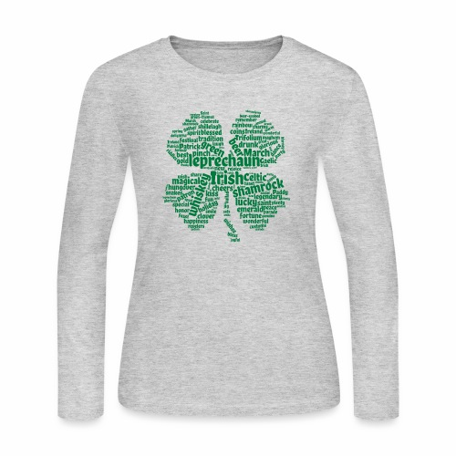 Shamrock Word Cloud - Women's Long Sleeve Jersey T-Shirt