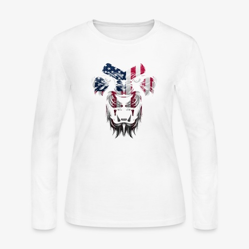 American Flag Lion Shirt - Women's Long Sleeve Jersey T-Shirt