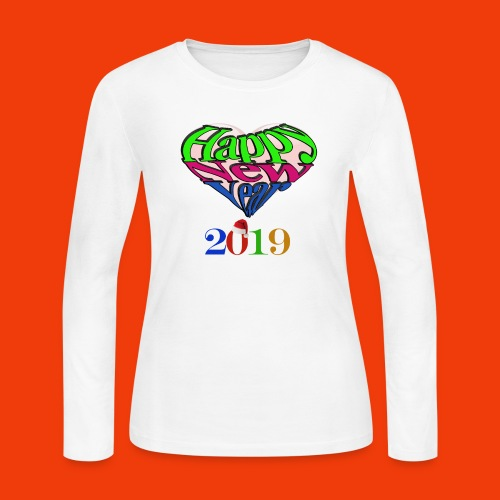 Happy new year 2019 T-shirt for all With heart - Women's Long Sleeve Jersey T-Shirt