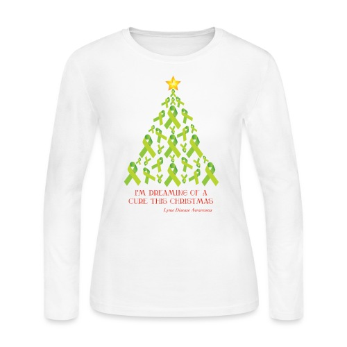 Lyme Free Christmas - White Edition - Women's Long Sleeve Jersey T-Shirt