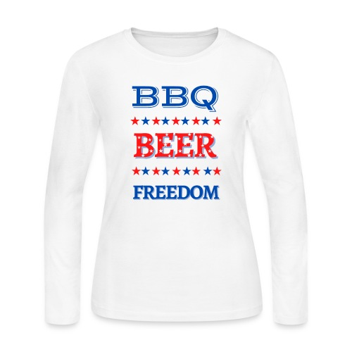 BBQ BEER FREEDOM - Women's Long Sleeve Jersey T-Shirt