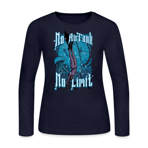 No Air Tank No Limit Freediving merchandise - Women's Long Sleeve Jersey T-Shirt