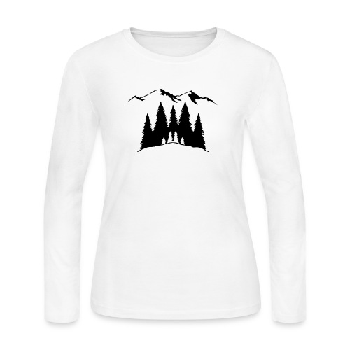 Mountains Trees - Women's Long Sleeve Jersey T-Shirt