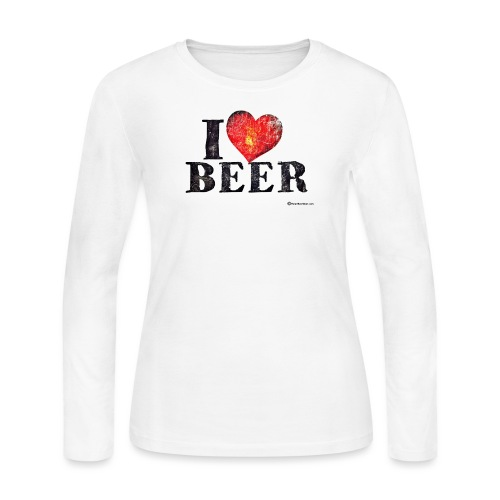 I Love Beer Distressed - Women's Long Sleeve Jersey T-Shirt