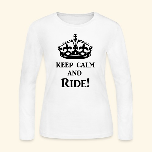 keep calm ride blk - Women's Long Sleeve Jersey T-Shirt