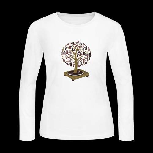 Turntable Tree of Music - Women's Long Sleeve Jersey T-Shirt
