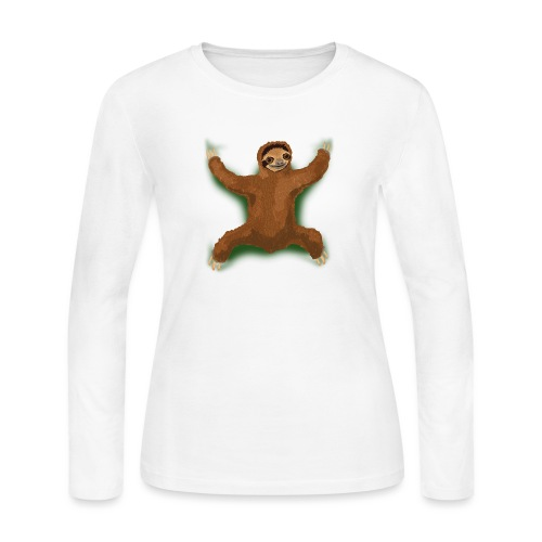 Sloth Love Hug - Green - Women's Long Sleeve Jersey T-Shirt