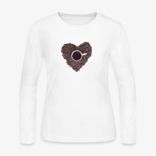 I Heart Coffee Black/White Mug - Women's Long Sleeve Jersey T-Shirt