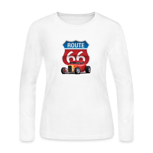 Route 66 Sign with Classic American Red Hotrod - Women's Long Sleeve Jersey T-Shirt