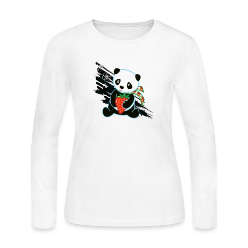 Cute Kawaii Panda T-shirt by Banzai Chicks - Women's Long Sleeve Jersey T-Shirt