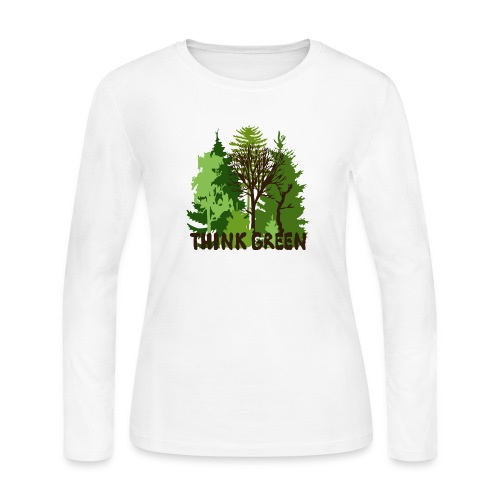 EARTHDAYCONTEST Earth Day Think Green forest trees - Women's Long Sleeve Jersey T-Shirt